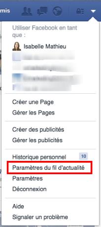 Facebook Paramètres au fil d'actualités