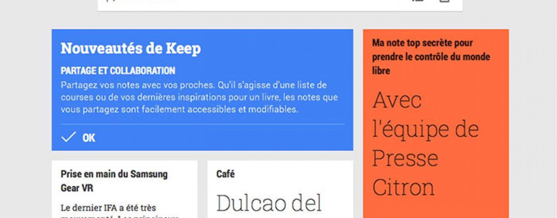 Google Keep : contenus collaboratifs et le partage