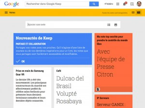 Google Keep solution de partage