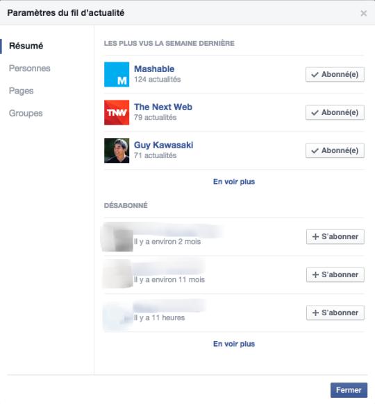 Paramètres au fil d'actualités Facebook