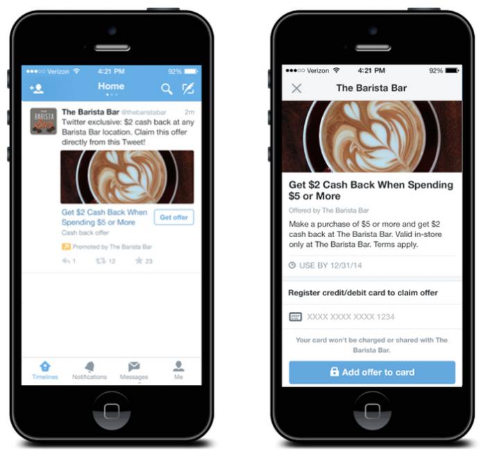 Twitter bouton acheter offres promotionnelles