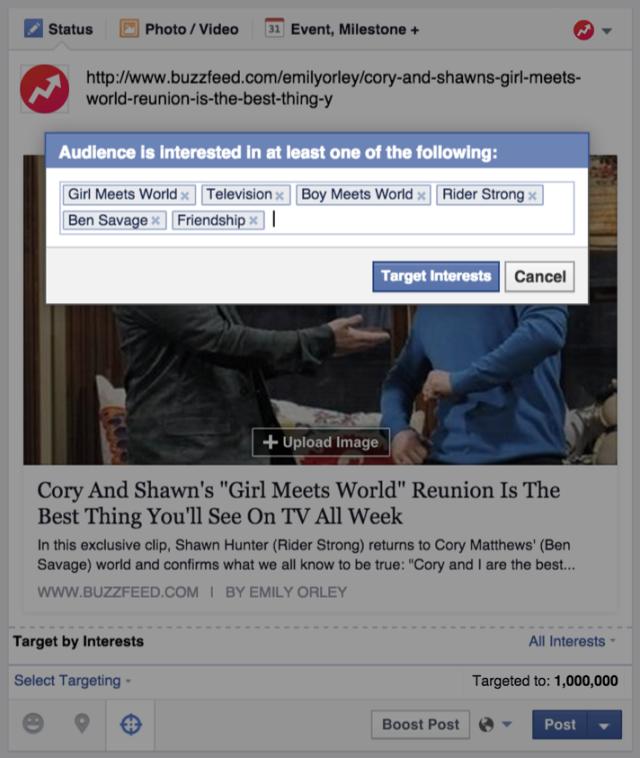 Facebook : publications ciblées par intérêts sur les Pages